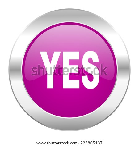 yes violet circle chrome web icon isolated