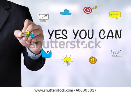 YES YOU CAN and Businessman drawing Landing Page on blackboard