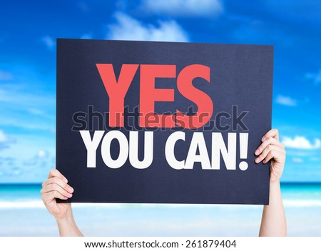 Yes You Can card with beach background - stock photo