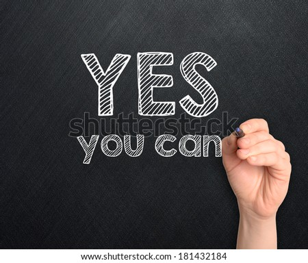 Yes you can handwritten on dark background - stock photo
