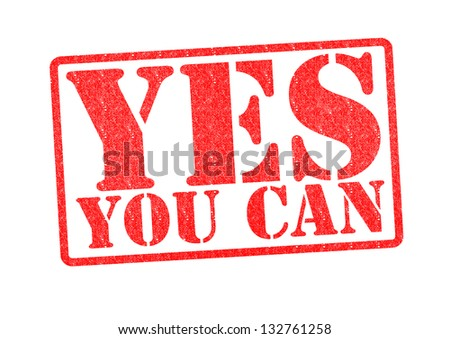 YES YOU CAN Rubber Stamp over a white background. - stock photo