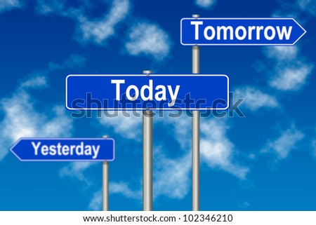 Yesterday Tomorrow Today traffic sign on a sky background - stock photo