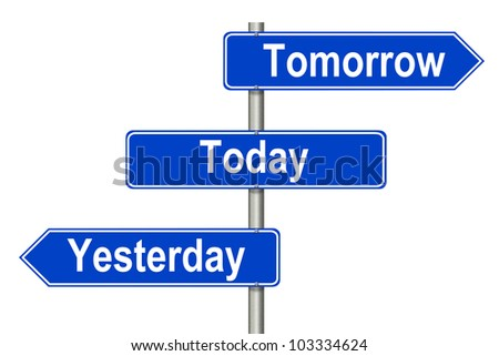 Yesterday Tomorrow Today traffic sign on a white background - stock photo