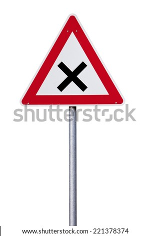 Yield ahead warning Traffic sign isolated with clipping path - stock photo
