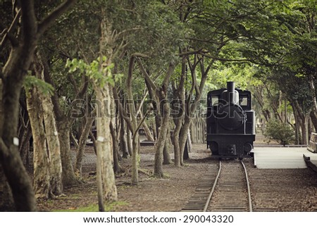 Yilan, Taiwan - JUN 9: A train is placed at at Luodong Forestry Culture Garden in Yilan, Taiwan. - stock photo