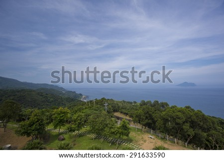 YILAN, TAIWAN - JUN 8: The view to pacific ocean and  turtle island from the famous coffee castle café in Yilan county, Taiwan on June 8 2015. - stock photo