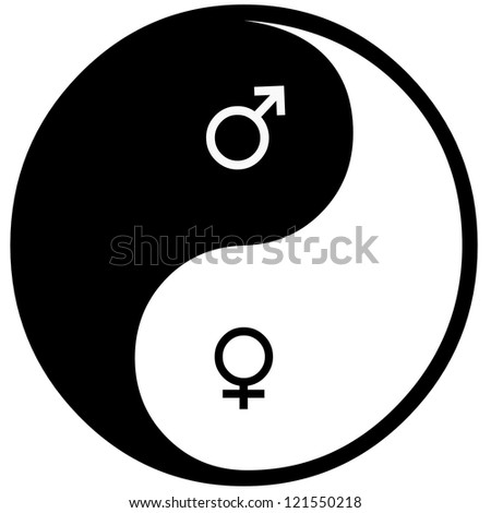 Yin and yang and sex. - stock photo