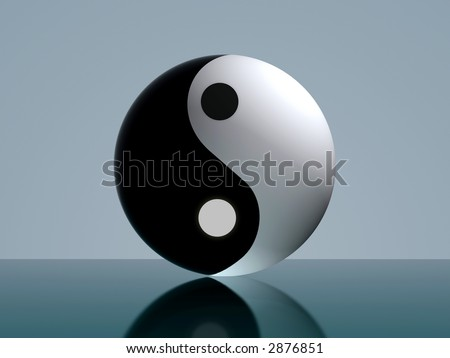 Yin and Yang illustration from a 3D sphere ball with calm ambiance - stock photo