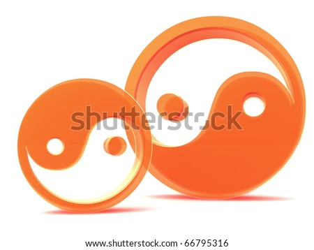 yin yang elements isolated on white - stock photo