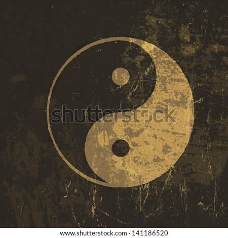 Yin yang grunge icon. With stained texture. Raster version, vector file available in my portfolio. - stock photo