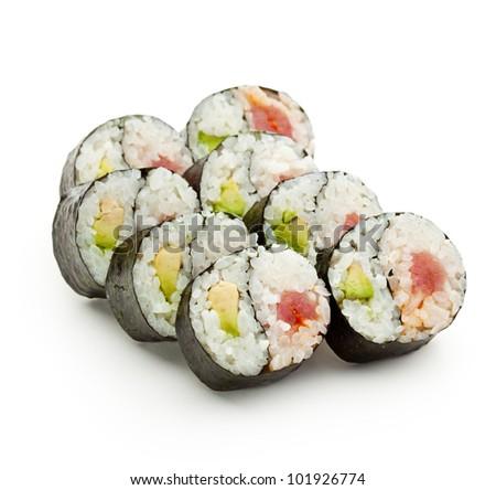 Yin Yang Maki Sushi - Roll made of Fresh Tuna and Avocado inside. Nori Outside - stock photo
