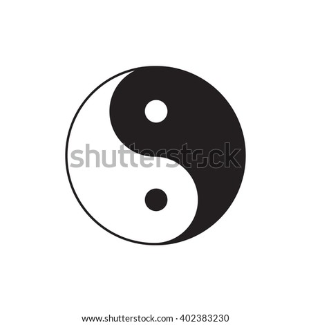 Yin Yang sign icon.  Feng shui symbol. White and black. Isolated Flat design - stock photo