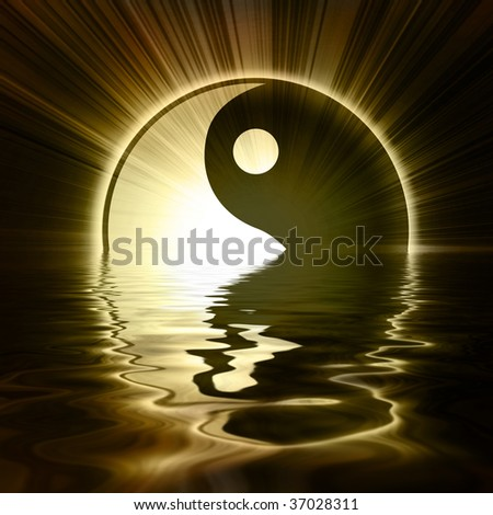 Yin Yang sign on a dark background - stock photo