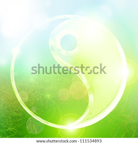 Yin Yang sign on a glowing background