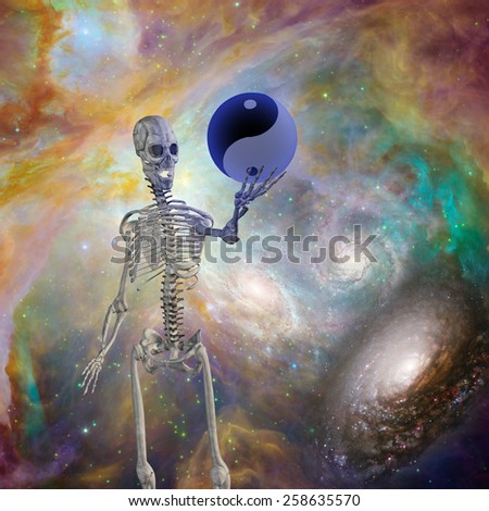 Yin Yang Sphere held up by skeleton - stock photo