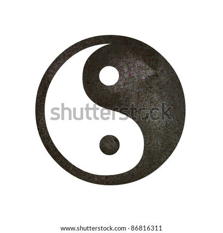 Yin-Yang symbol, create from paper craft. - stock photo
