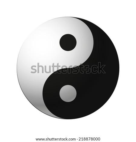 yin yang symbol isolated on white background - stock photo