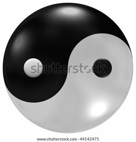 Yin Yang Symbols Glass Like Dome Stock Illustration 44142475