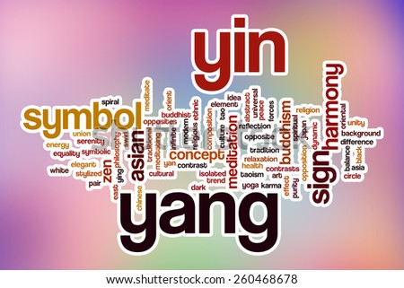 Yin yang word cloud concept with abstract background - stock photo