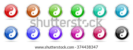 ying yang colorful web icons set