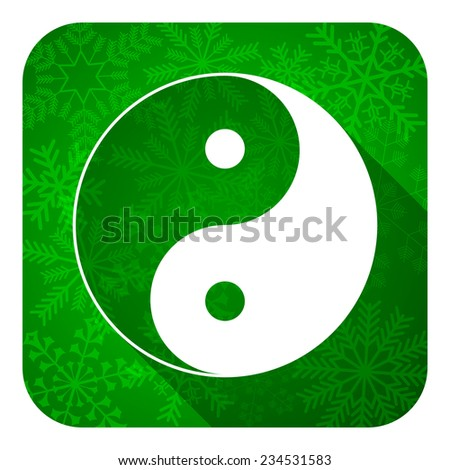 ying yang flat icon, christmas button