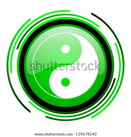 ying yang green circle glossy icon