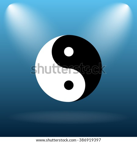 Ying yang icon. Internet button on blue background.