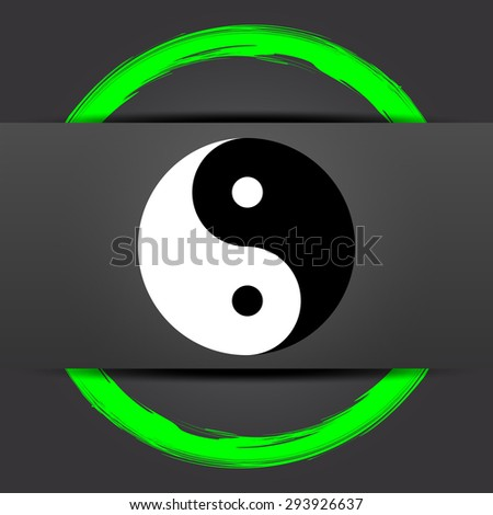 Ying yang icon. Internet button with green on grey background.