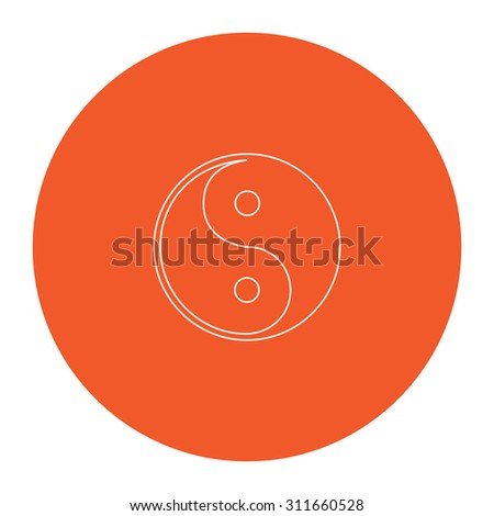 Ying-yang icon of harmony and balance. Flat white symbol in the orange circle. Outline illustration icon - stock photo