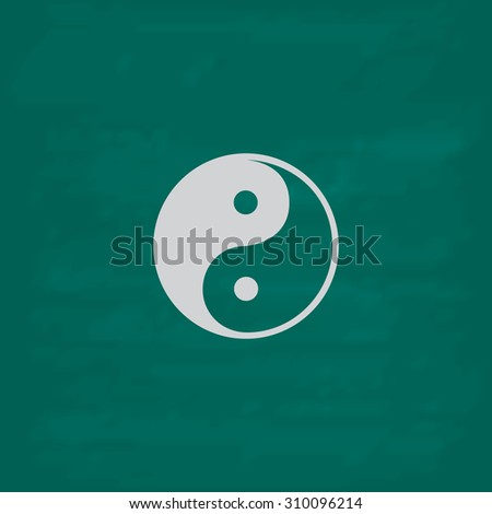 Ying-yang icon of harmony and balance.  Icon. Imitation draw with white chalk on green chalkboard. Flat Pictogram and School board background. Illustration symbol - stock photo