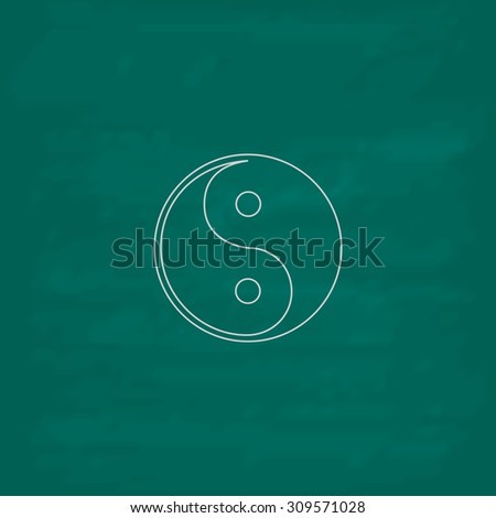 Ying-yang icon of harmony and balance. Outline icon. Imitation draw with white chalk on green chalkboard. Flat Pictogram and School board background. Illustration symbol