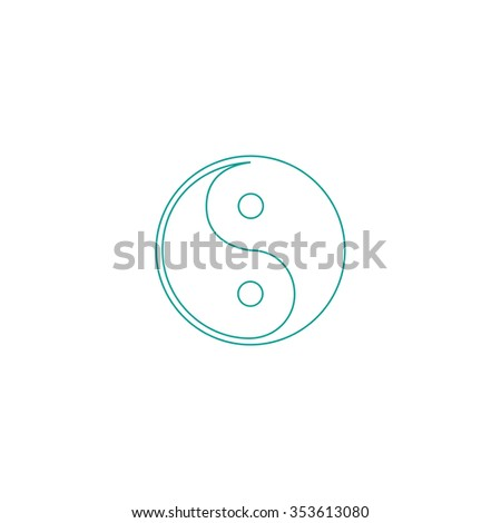 Ying-yang icon of harmony and balance. Outline symbol on white background. Simple line icon