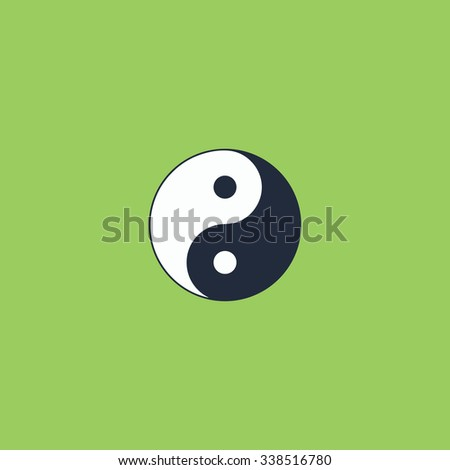 Ying yang symbol of harmony and balance. Colored simple icon. Flat retro color modern illustration symbol - stock photo
