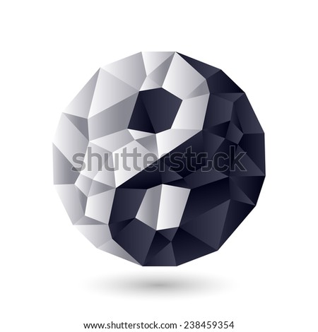 Ying-yang symbol of harmony and balance. Crystal, jewel or ice structure.  - stock photo