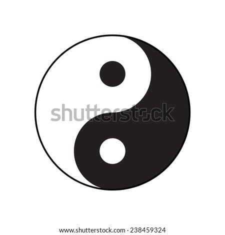Ying-yang symbol of harmony and balance. Flat style. - stock photo