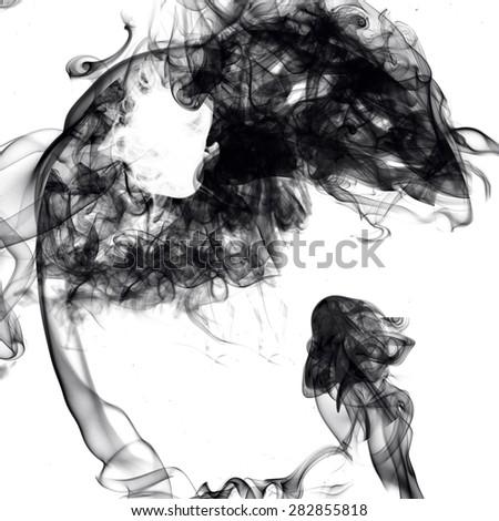 Ying Yang symbol of harmony made out of smoke on white background - stock photo