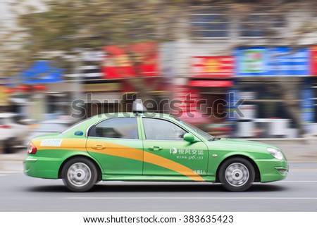 YIWU-CHINA-JAN. 20, 2016. Hyundai Sonata taxi. Taxi drivers all over the world love Hyundai. In China, there are many Elantra and Sonata taxi cars. Hyundai opened a taxi cars plant at Beijing in 2002.