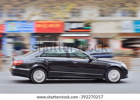 YIWU-CHINA-JAN. 15, 2016. Mercedes E Class. Luxury-car makers can count on China's growing wealth.  Number of Chinese with over $1 million in financial assets double the North America rate this year.