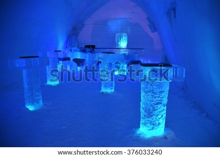 YLLASJARVI, FINLAND - FEB 06, 2016: Ice hotel suite in Lainio snow village in Yllasjarvi, Finland. The snow village is open every year from December/January until the end of April - stock photo