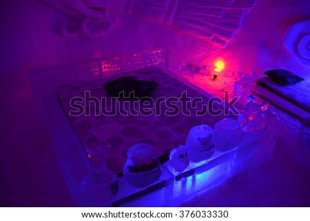 yllasjarvi finland feb 06 2016 ice hotel suite in lainio snow village - Purple Hotel 2016