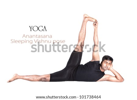 Yoga Anantasana Vishnu pose by Indian man in black cloth isolated at white background. Free space for text and can be used as template for web-site - stock photo