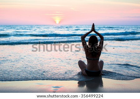 Yoga and fitness, healthy lifestyle. - stock photo