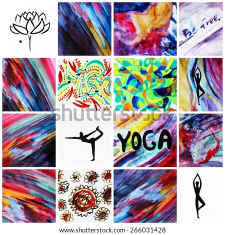 Yoga background or Spiritual energy, Yoga symbols, Lotus, Yoga, Creative backgrounds, Be happy, Be free, Positive thinking, Creative design - stock photo