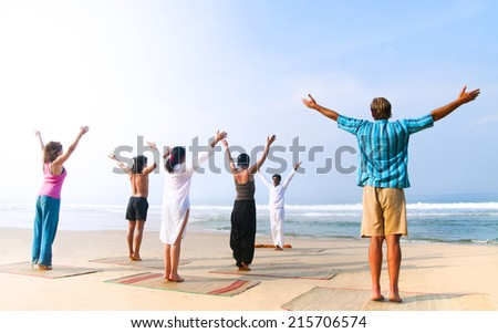 Yoga class by the beach.