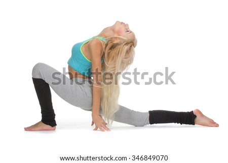 Yoga elements. Caucasian dancer girls, isolated