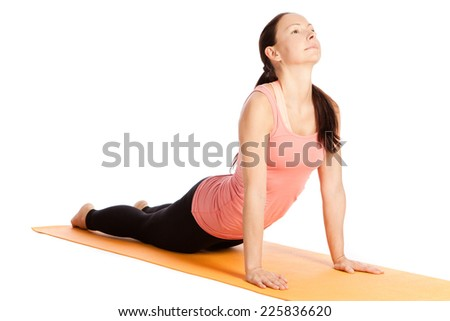 Yoga exercises in front of white background