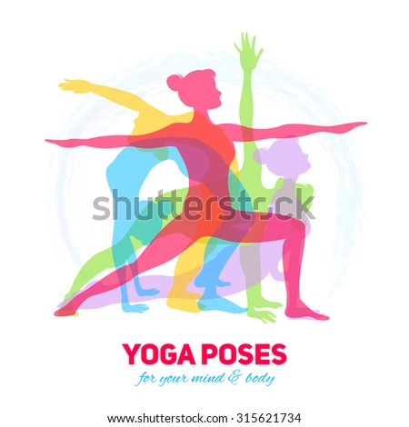 Yoga fitness concept with girl silhouettes in different poses  illustration - stock photo