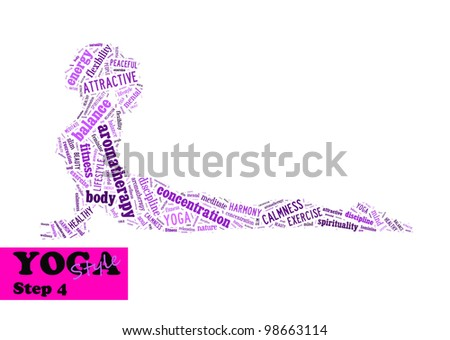 Yoga,fitness & health info text/word cloud/word collage composed in the shape of a girl doing yoga meditation pose (Yoga style step 4) - stock photo