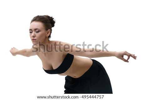 Yoga. Girl practising and her eyes closed