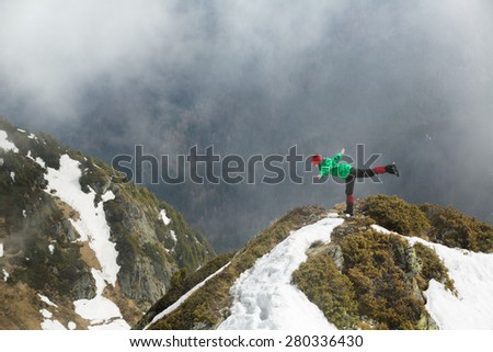 Yoga in the mountains - stock photo